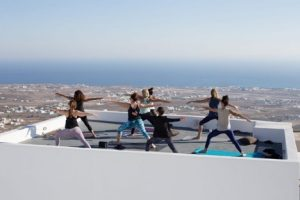 rooftop yoga in santorini